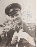 Autographs:Celebrities, Yuri Gagarin Photograph Inscribed and Signed ...