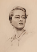 Mainstream Illustration, HAL PHYFE (American, 1880-1980). Portrait of a Woman.Charcoal on board. 20 x 15 in.. Not signed. From the Estateof...
