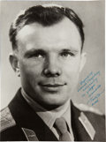 Autographs:Celebrities, Yuri Gagarin Oversized Photograph Inscribed and Signed...