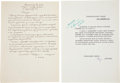 Transportation:Space Exploration, Yuri Gagarin Autograph Letter Signed Requesting Return to Flight Training,... (Total: 2 Items)