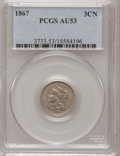 Three Cent Nickels: , 1867 3CN AU53 PCGS. PCGS Population (6/525). NGC Census: (3/424).Mintage: 3,915,000. Numismedia Wsl. Price for problem fre...
