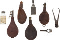 Military & Patriotic:Civil War, Interesting Group of Leather Shot Bullet and Powder Flasks....