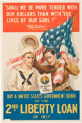 "Military & Patriotic:WWI, [WWI Liberty Loan Poster]. ""Shall we be more tender with our dollars that with the Lives of our sons?""...."