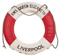 Decorative Arts, British:Other , R.M.S. QUEEN ELIZABETH ORIGINAL LIFE RING . 30 inches (76.2 cm)....