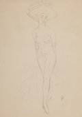 Pin-up and Glamour Art, FRITZ WILLIS (American, 1907-1979). Nude in Hat. Pencil onpaper. 22 x 16 in.. Initialed lower right. From the Estat...