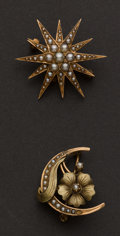 Estate Jewelry:Brooches - Pins, Two Antique Pearl Set Pins. ... (Total: 2 Items)
