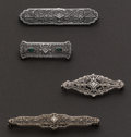 Estate Jewelry:Brooches - Pins, Four Gold Filigree Pins. ... (Total: 4 Items)
