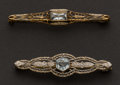 Estate Jewelry:Brooches - Pins, Two Antique Aquamarine Pins. ... (Total: 2 Items)