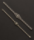 Estate Jewelry:Bracelets, Two 14k White Gold & Diamond Filigree Bracelets. ... (Total: 2 Items)