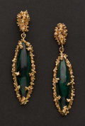 Estate Jewelry:Earrings, Malachite & Gold Earrings. ...