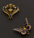 Estate Jewelry:Brooches - Pins, Two Antique Watch Pins. ... (Total: 2 Items)