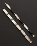 Estate Jewelry:Bracelets, Two - Mother Of Pearl & Onyx 14k Gold Bracelets. ... (Total: 2Items)