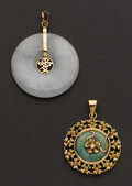 Estate Jewelry:Pendants and Lockets, Two - 18k & 14k Gold Jade Pendants. ... (Total: 2 Items)