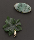 """Estate Jewelry:Brooches - Pins, Jade """"Leaf"""" Pendant & Carved Jade Pin. ... (Total: 2 Items)"""