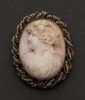 Estate Jewelry:Cameos, Coral Cameo 10K Gold Brooch. ...