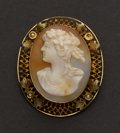 Estate Jewelry:Cameos, Shell 10k Gold Cameo. ...