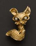Estate Jewelry:Brooches - Pins, Gold & Diamond Fox Pin. ...