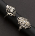 Estate Jewelry:Rings, Two Antique Filigree Diamond Rings. ... (Total: 2 Items)
