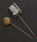 Estate Jewelry:Brooches - Pins, Two Antique Cameo Stickpins. ... (Total: 2 Items)