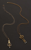 Estate Jewelry:Necklaces, Two Gold Vintage Necklaces. ... (Total: 2 Items)