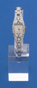 Timepieces:Wristwatch, Hamilton Platinum & Diamond Wristwatch With 14k White GoldBand. ...