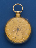 Timepieces:Pocket (pre 1900) , John Johnson Side Lever Fusee 18k Gold With A Gold Dial PocketWatch. ...