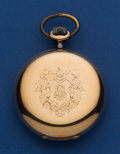 Timepieces:Pocket (post 1900), Swiss 55 mm 14k Gold Hunter's Case Pocket Watch. ...