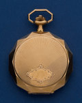 Timepieces:Pocket (post 1900), Swiss 14k Gold With Fancy Edges 46 mm Hunter's Case Pocket Watch. ...