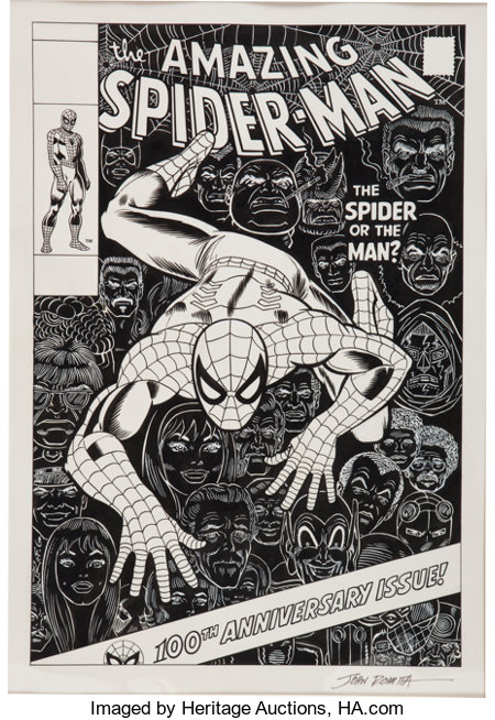 John Romita Sr. The Amazing Spider-Man #100 Cover Re-Creation Original Art (1994)....