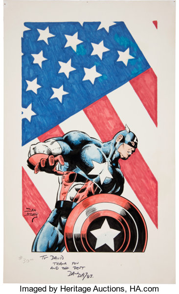 dan day full color captain america illustration original lot