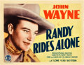 "Movie Posters:Western, Randy Rides Alone (Monogram, 1934). Title Lobby Card (11"" X 14"")....."