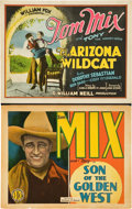 "Movie Posters:Western, Tom Mix Lot (William Fox, 1927) and (FBO, 1928). Title Lobby Cards (2) (11"" X 14"").. ... (Total: 2 Items)"