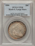 Early Half Dollars, 1806 50C Knobbed 6, Large Stars VF30 PCGS. O-105, R.2....