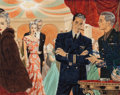 Pulp, Pulp-like, Digests, and Paperback Art, EDWIN GEORGI (American, 1896-1964). Festivity, Webster Cigarsadvertisement, 1944. Gouache and watercolor on board. 15 x...