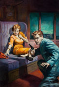 Pulp, Pulp-like, Digests, and Paperback Art, VICTOR OLSON (American, 1924-2007). Counterspy EXPRESS,paperback cover, 1954. Oil on board. 30 x 20.5 in.. Signedlower...