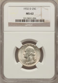 Washington Quarters, 1932-D 25C MS62 NGC....