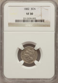 Three Cent Nickels: , 1882 3CN VF30 NGC. NGC Census: (4/61). PCGS Population (7/122).Mintage: 22,200. Numismedia Wsl. Price for problem free NGC...