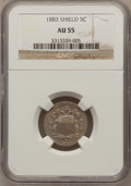 Shield Nickels: , 1883 5C AU55 NGC. NGC Census: (20/1332). PCGS Population (76/1669).Mintage: 1,456,919. Numismedia Wsl. Price for problem f...