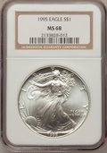 Modern Bullion Coins, (2)1995 $1 Silver Eagle MS68 NGC.... (Total: 2 coins)
