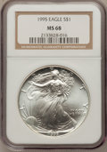 Modern Bullion Coins, (3)1995 $1 Silver Eagle MS68 NGC.... (Total: 3 coins)