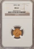 Gold Dollars: , 1874 G$1 MS61 NGC. NGC Census: (545/2541). PCGS Population(308/2221). Mintage: 198,820. Numismedia Wsl. Price for problem ...