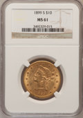 Liberty Eagles: , 1899-S $10 MS61 NGC. NGC Census: (160/184). PCGS Population(83/170). Mintage: 841,000. Numismedia Wsl. Price for problem f...