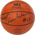 """Basketball Collectibles:Balls, Wilt Chamberlain Single Signed Leather """"Spalding"""" Game Basketball. ..."""