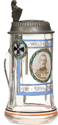 Military & Patriotic:WWI, Fantastic WWI German Glass Stein With Pewter Iron Cross Lid....
