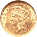 Three Dollar Gold Pieces, 1854 $3 MS61 NGC....