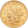 Liberty Double Eagles, 1864 $20 AU53 PCGS. CAC....