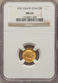 Commemorative Gold, 1922 G$1 Grant With Star MS63 NGC....