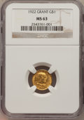 Commemorative Gold, 1922 G$1 Grant No Star MS63 NGC....
