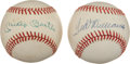 Autographs:Baseballs, Mickey Mantle And Ted Williams Single Signed Baseballs....