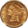 Liberty Half Eagles: , 1898-S $5 MS63 NGC. NGC Census: (47/54). PCGS Population (56/39).Mintage: 1,397,400. Numismedia Wsl. Price for problem fre...